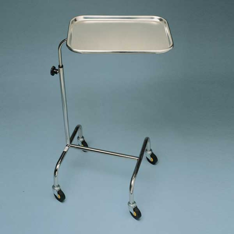 AW Mobile Mayo Stainless Steel Table With Height & Swivel Adjustment