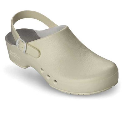 White Chiro Clog With Inner Lining With Heel Strap