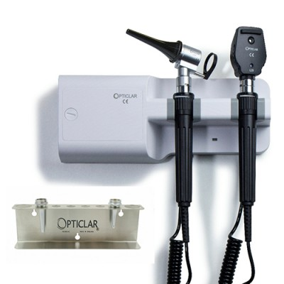 Opticlar Visionvet Standard Diagnostic Set With Twin Handle Wall Unit, 5 Plastic Tips & Tip Tidy