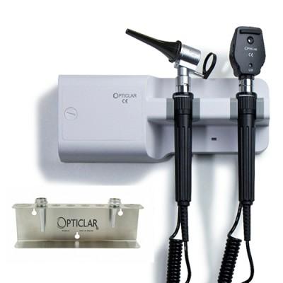 Opticlar Visionvet Standard Diagnostic Set With Twin Handle Wall Unit, 5 Plastic Tips & Tip Tidy
